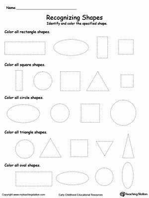Shape Recognition Worksheets for Preschoolers Lovely Recognizing Shapes