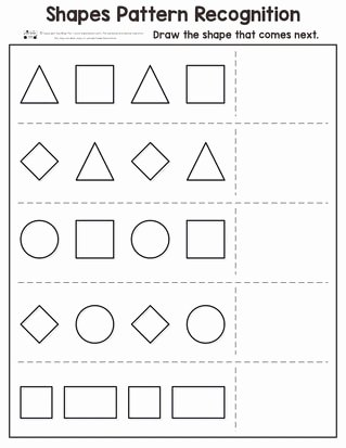 Shape Recognition Worksheets for Preschoolers New Shapes Pattern Recognition for Kindergarten Itsybitsyfun