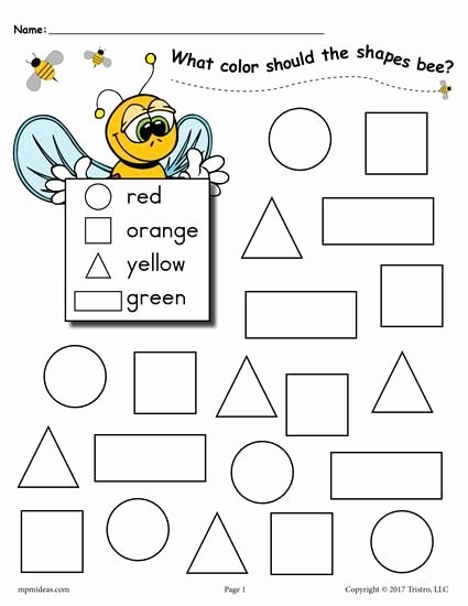 Shape Recognition Worksheets for Preschoolers top 6 Bee themed Shapes Coloring Pages
