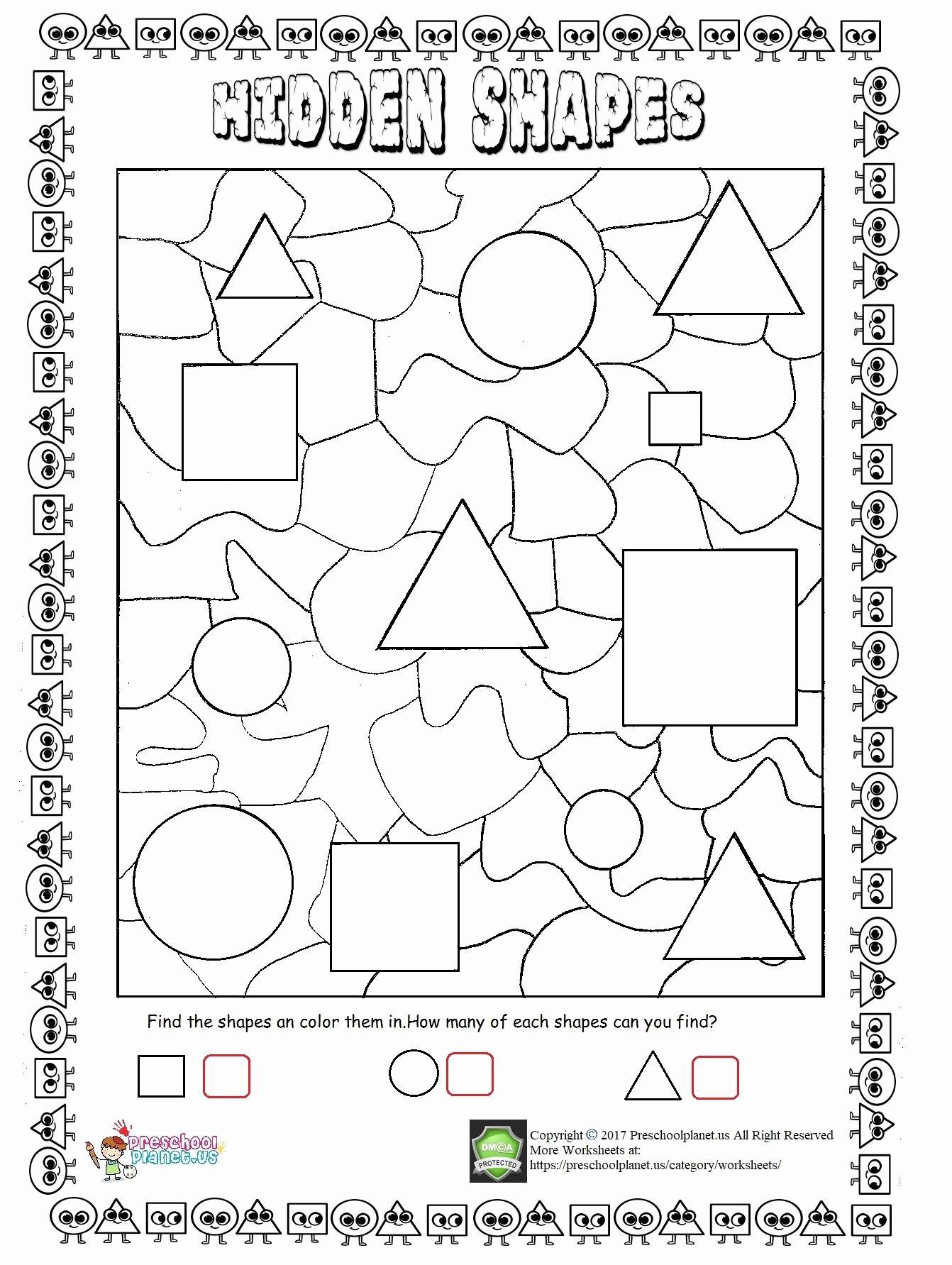 Shape Review Worksheets for Preschoolers Kids Hidden Shapes Worksheet Görüntüler Ile Boyama Kitapları Okul