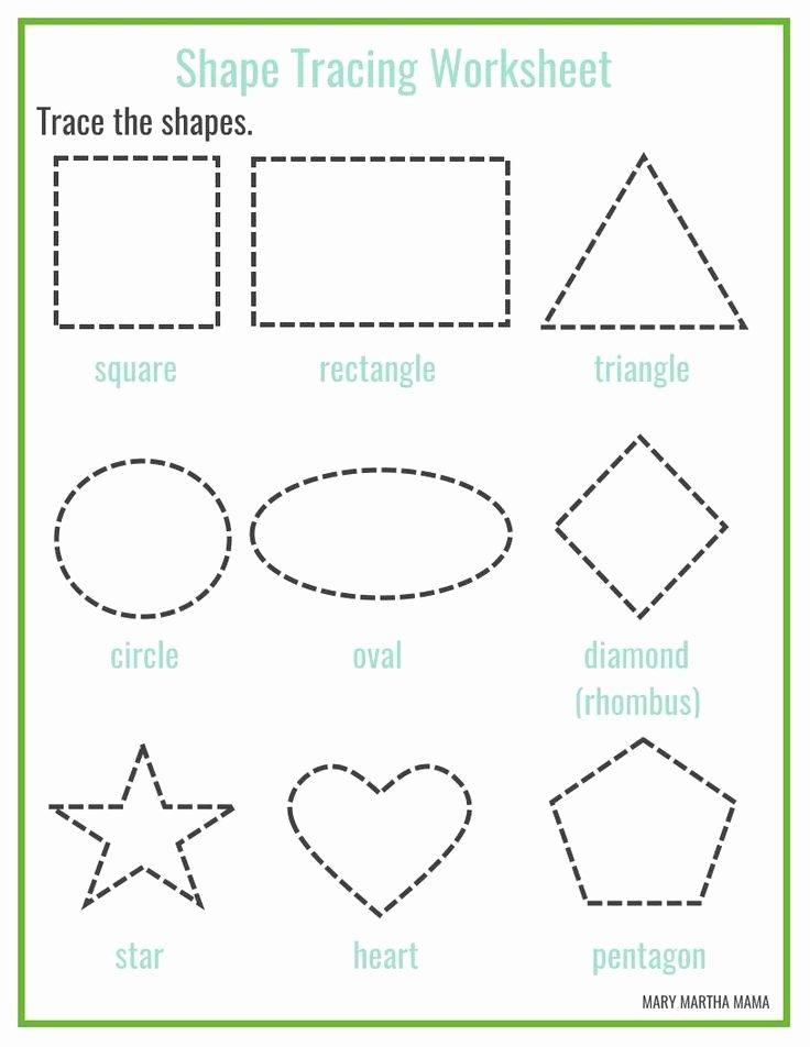 Shape Worksheets for Preschoolers Free top Free Printable Shape Tracing Worksheets