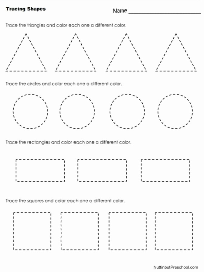 Shape Worksheets for Preschoolers Fresh Coloring Pages Trace and Color Worksheets Preschool Color