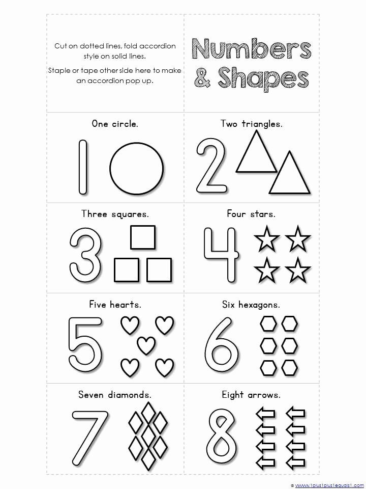 Shapes and Numbers Worksheets for Preschoolers Fresh Free Accordion Book Printables