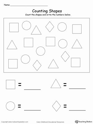 Shapes and Numbers Worksheets for Preschoolers Kids Count and Write the Number Of Shapes