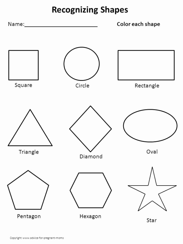 Shapes and Numbers Worksheets for Preschoolers Kids Worksheets for Preschool Shape Shapes Printable Free