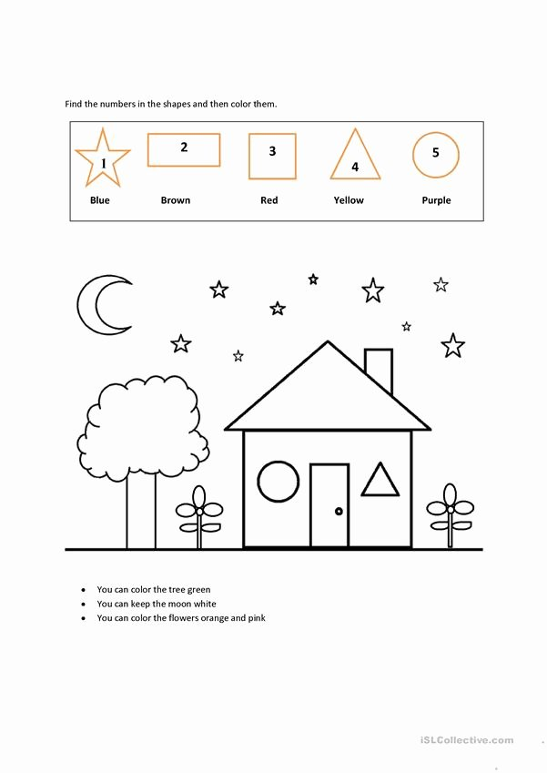 Shapes and Numbers Worksheets for Preschoolers New Colors Shapes Numbers English Esl Worksheets for Distance
