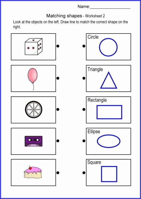 Shapes Math Worksheets for Preschoolers Best Of Matching Shapes Math Worksheet Printables Worksheets for