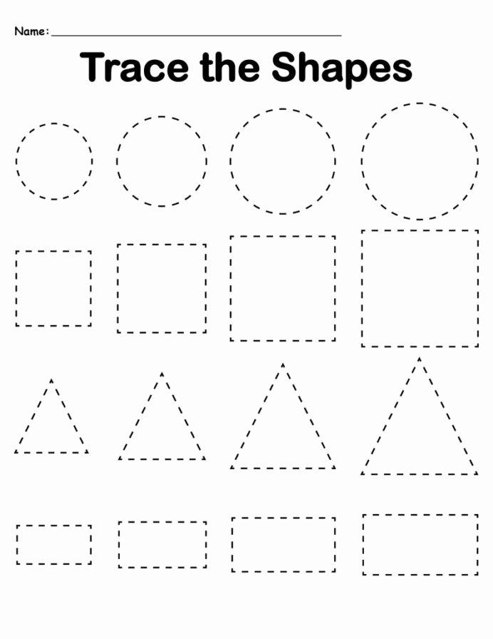 Shapes Math Worksheets for Preschoolers Best Of Preschool Tracing Worksheets Best Coloring for Kids Shapes