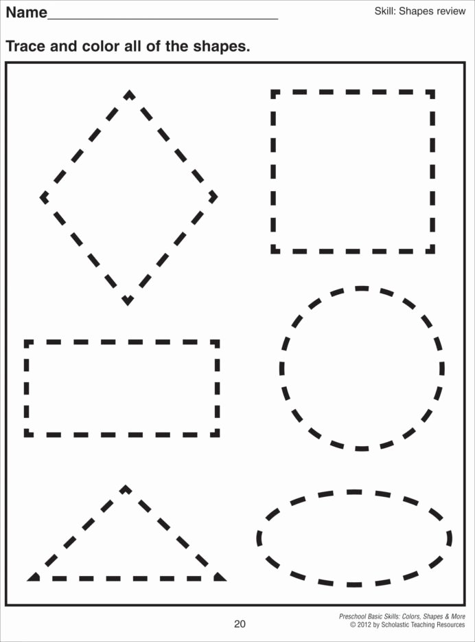 Shapes Math Worksheets for Preschoolers Free Cutting Shapes Worksheets Kindergarten Preschool Printable