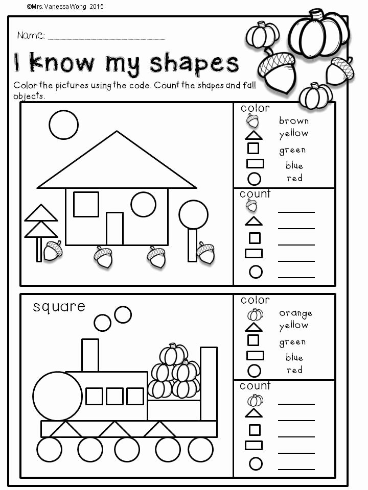 Shapes Math Worksheets for Preschoolers Ideas Fall Activities for Kindergarten Math and Literacy No Prep