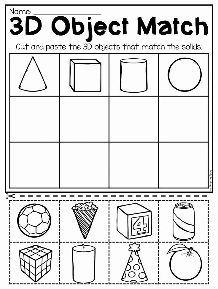 Shapes Math Worksheets for Preschoolers Ideas Matching 3d Objects Worksheet for Kindergarten This Packet