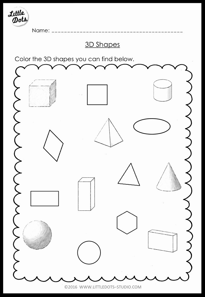 Shapes Math Worksheets for Preschoolers Kids Kindergarten Math 3d Shapes Worksheets and Activities