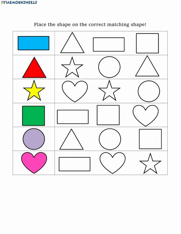 Shapes Math Worksheets for Preschoolers Lovely Shape Matching Interactive Worksheet Shapes Worksheets Math