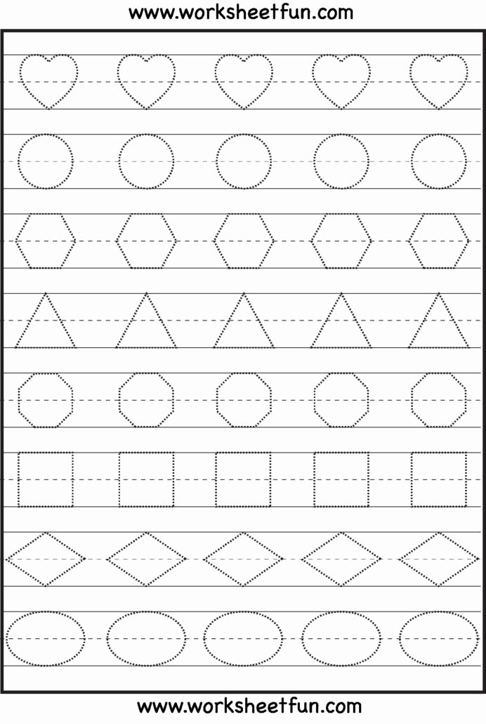 Shapes Tracing Worksheets for Preschoolers Kids Patterns Preschool Tracing Worksheets Learning Shape for