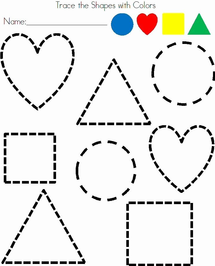 Shapes Tracing Worksheets for Preschoolers Lovely Preschool Shapes Tracing Worksheet