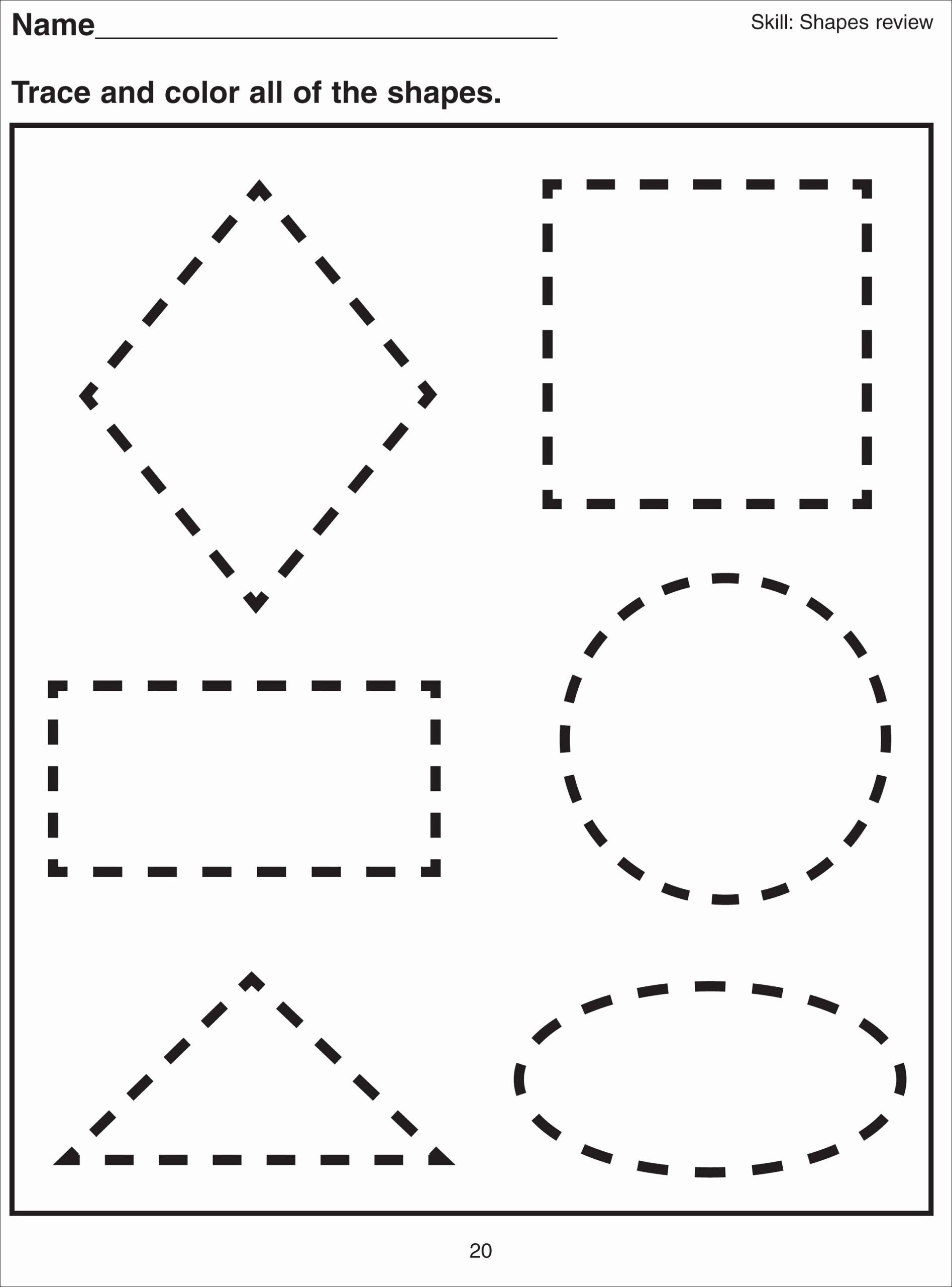 Shapes Tracing Worksheets for Preschoolers Printable Shape Tracing Worksheets for Print Free Multiplication Table