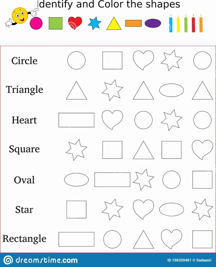 Shapes Worksheets for Preschoolers Kids Identify and Color the Correct Shape Worksheet Stock Image