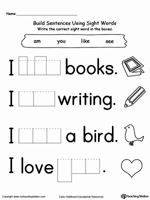 Sight Word Worksheets for Preschoolers Inspirational 20 Kindergarten Sight Words Worksheets