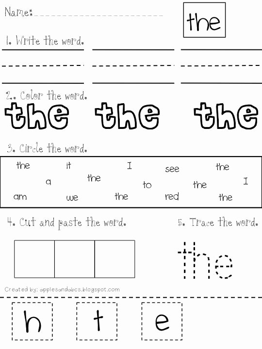 Sight Word Worksheets for Preschoolers Kids Sight Word Printables