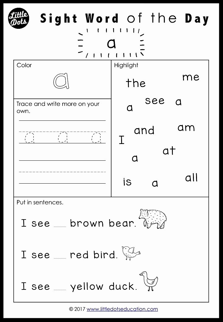 Sight Word Worksheets for Preschoolers Printable Free Pre K Dolch Sight Words Worksheets Set 1