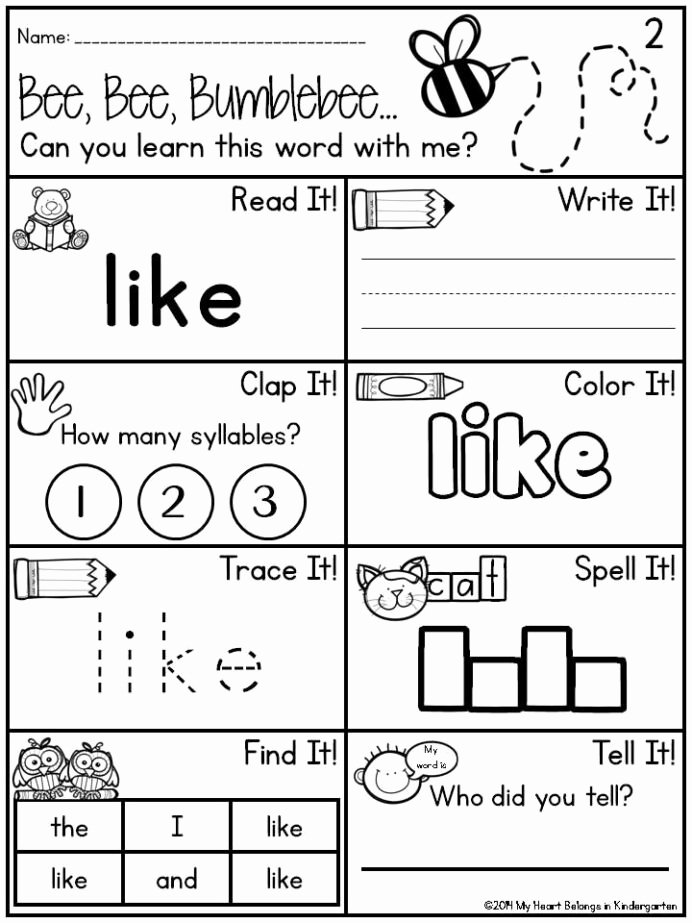 Sight Word Worksheets for Preschoolers Printable Pin Kindergarten Sight Word Worksheets Dr Mikes Math