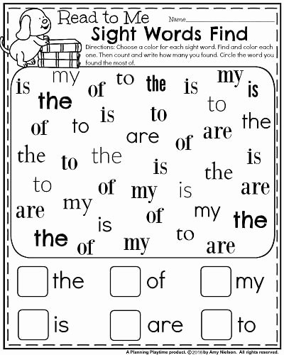 Sight Words Worksheets for Preschoolers Best Of Back to School Kindergarten Worksheets Planning Playtime