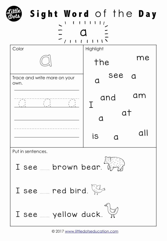Sight Words Worksheets for Preschoolers Fresh Free Pre Dolch Sight Words Worksheets Set Word Kindergarten