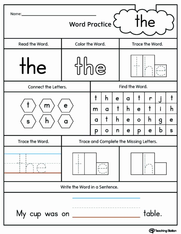 Sight Words Worksheets for Preschoolers Inspirational Kindergarten High Frequency Words Printable Worksheets