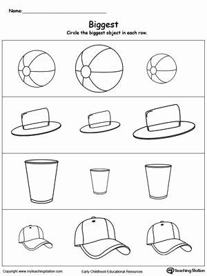 Size Comparison Worksheets for Preschoolers Free Biggest Worksheet Identify the Biggest Object