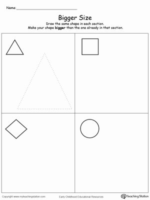 Size Comparison Worksheets for Preschoolers Free Draw A Bigger Size Shape