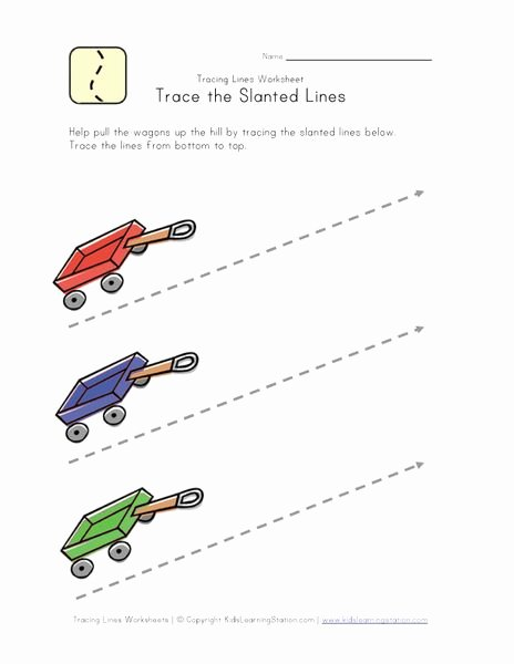 Slanting Lines Worksheets for Preschoolers Printable Draw Diagonal Lines