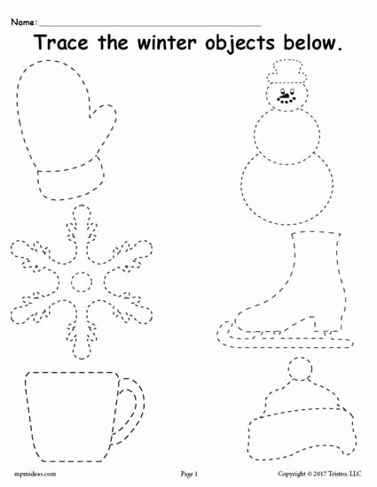 Snow Worksheets for Preschoolers Free Printable Winter Tracing Worksheet