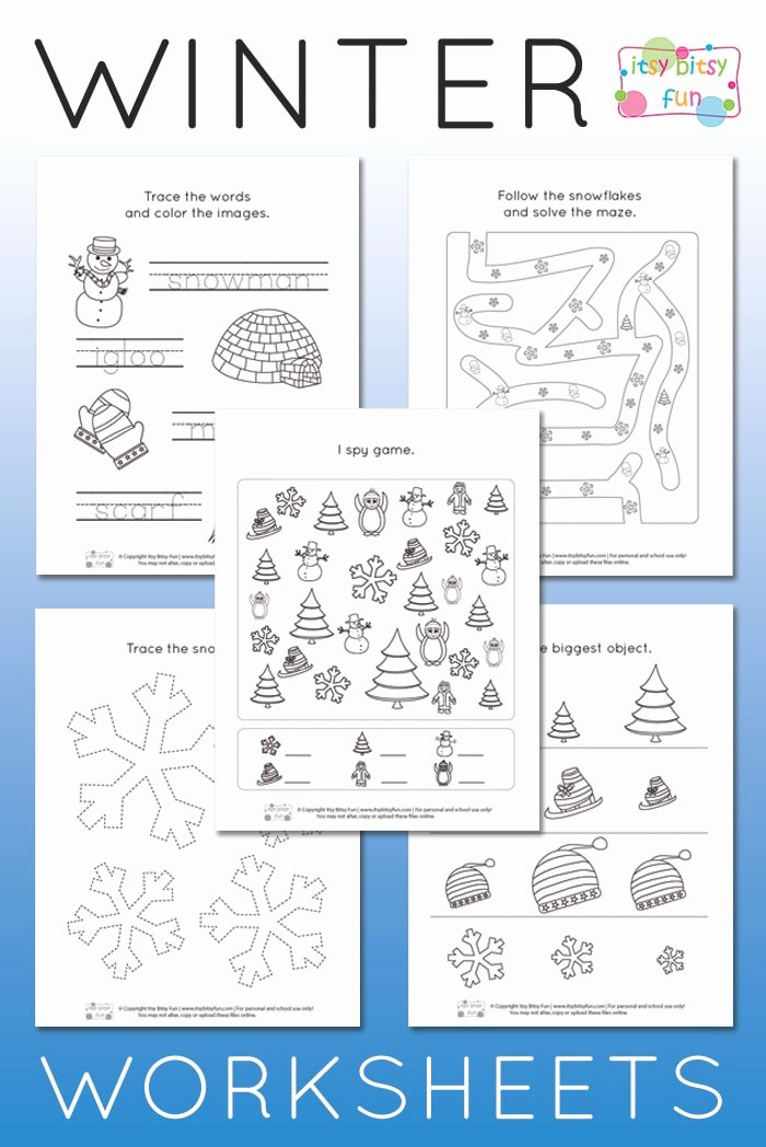 Snow Worksheets for Preschoolers Kids Winter Worksheets for Kindergarten Itsybitsyfun