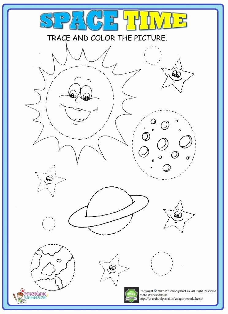 Space Worksheets for Preschoolers Printable Space Trace Worksheet – Preschoolplanet