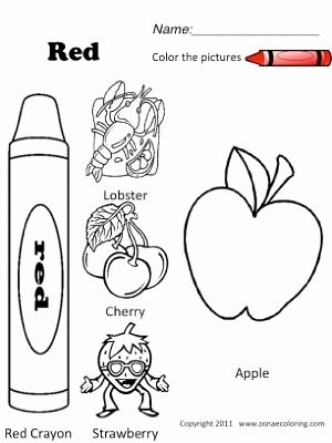 Spanish Color Worksheets for Preschoolers Kids Red Objects