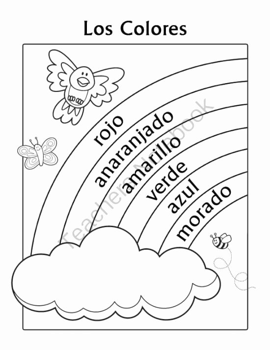 Spanish Color Worksheets for Preschoolers top Los Colores Spanish Colors Rainbow Coloring Page From Miss