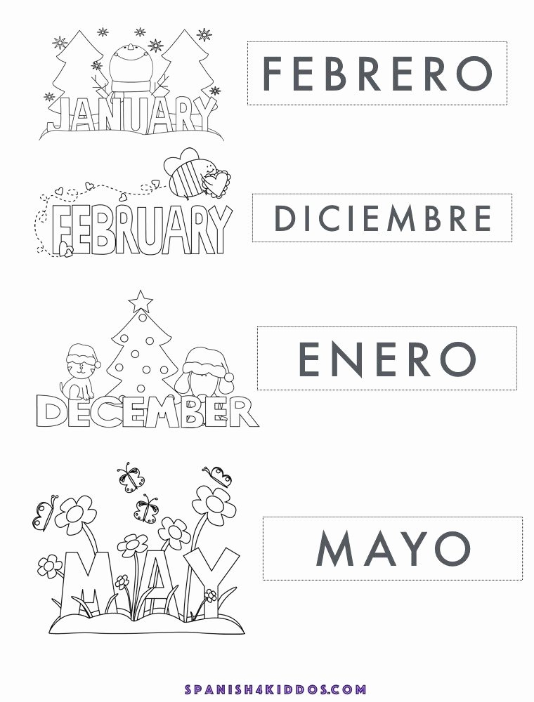 Spanish Printable Worksheets for Preschoolers Kids Free Printable Of Spanish Months January February