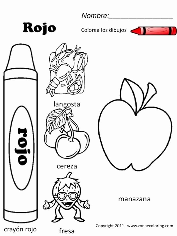 Spanish Printable Worksheets for Preschoolers Kids Spanish Colors Coloring Worksheet