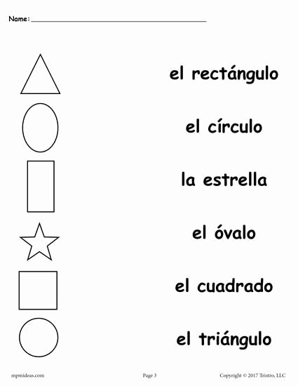 Spanish Printable Worksheets for Preschoolers Lovely 4 Spanish Shapes Matching Worksheets