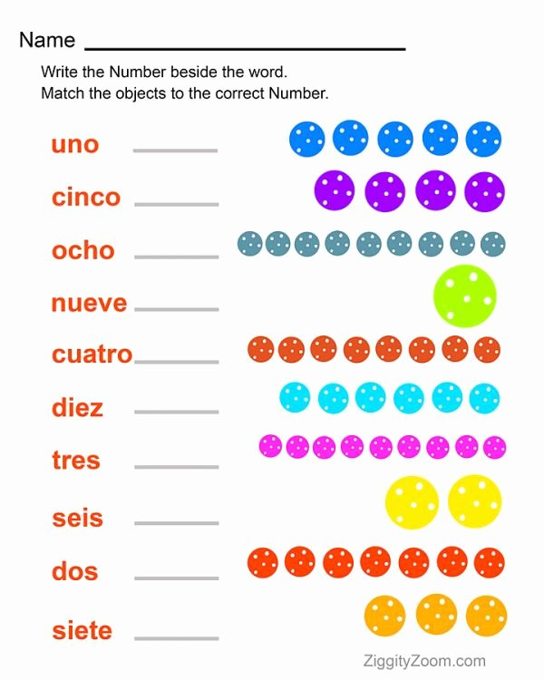 Spanish Printable Worksheets for Preschoolers top Spanish Numbers Worksheet