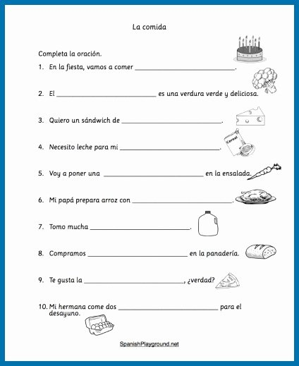 Spanish Worksheets for Preschoolers Free Kids Spanish Food Vocabulary Printable Activities Playground Free