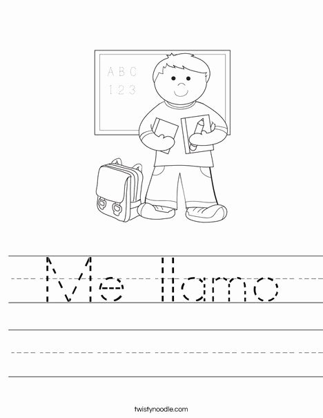 Spanish Worksheets for Preschoolers Fresh Me Llamo Worksheet