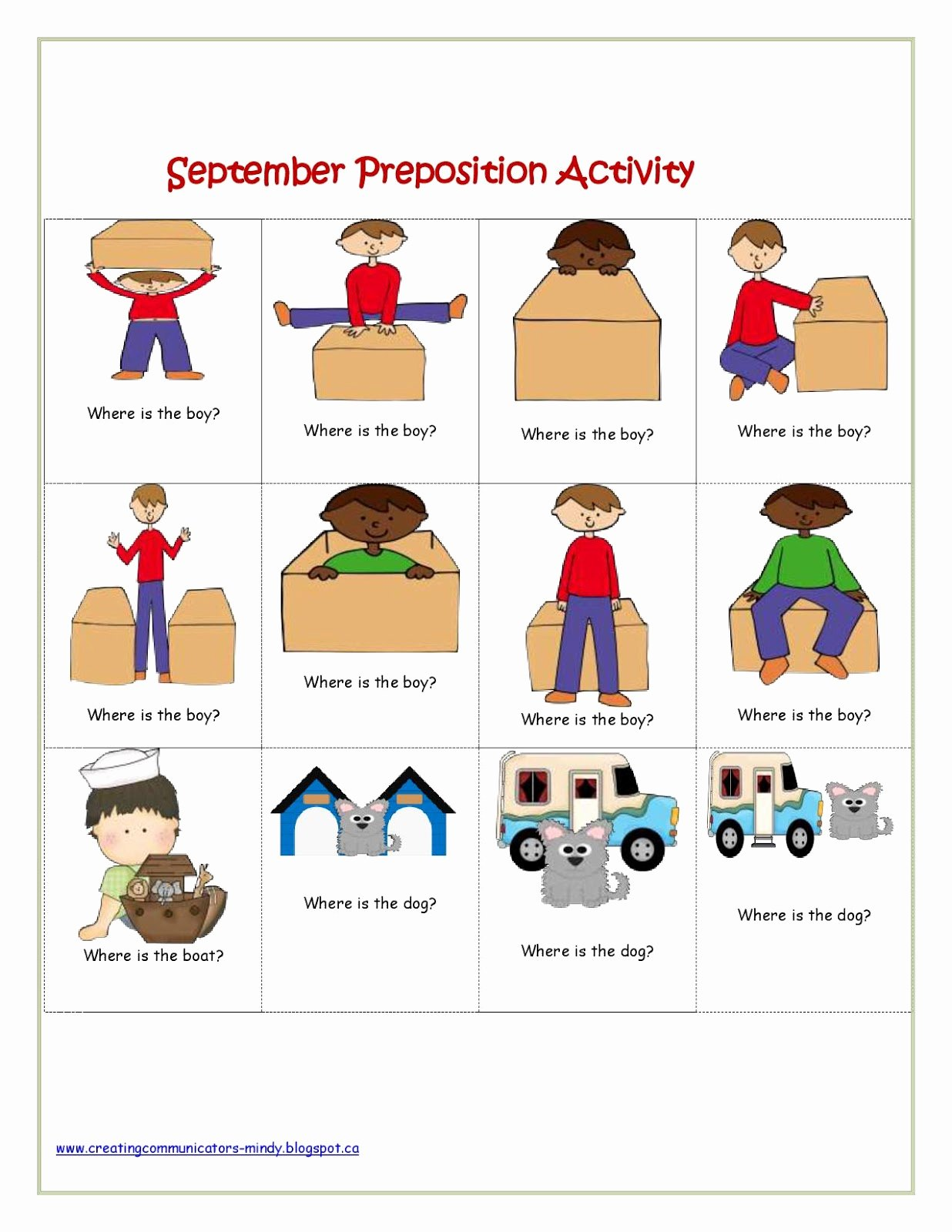 Spatial Concepts Worksheets for Preschoolers Kids Spatial Position Worksheets