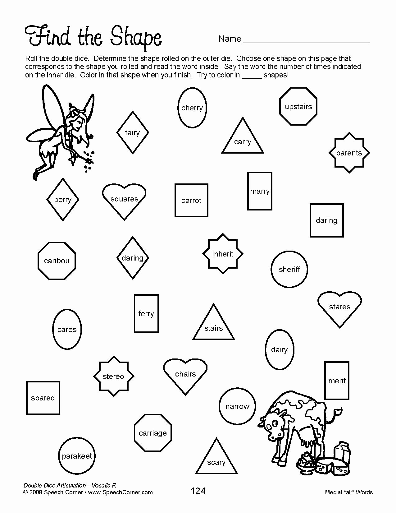 Speech therapy Worksheets for Preschoolers Free Speech Corner Double Dice Articulation Vocalic Educational