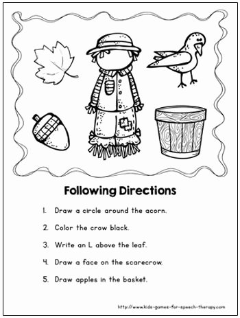 Speech therapy Worksheets for Preschoolers New Fall Speech therapy Activities & Language Worksheets