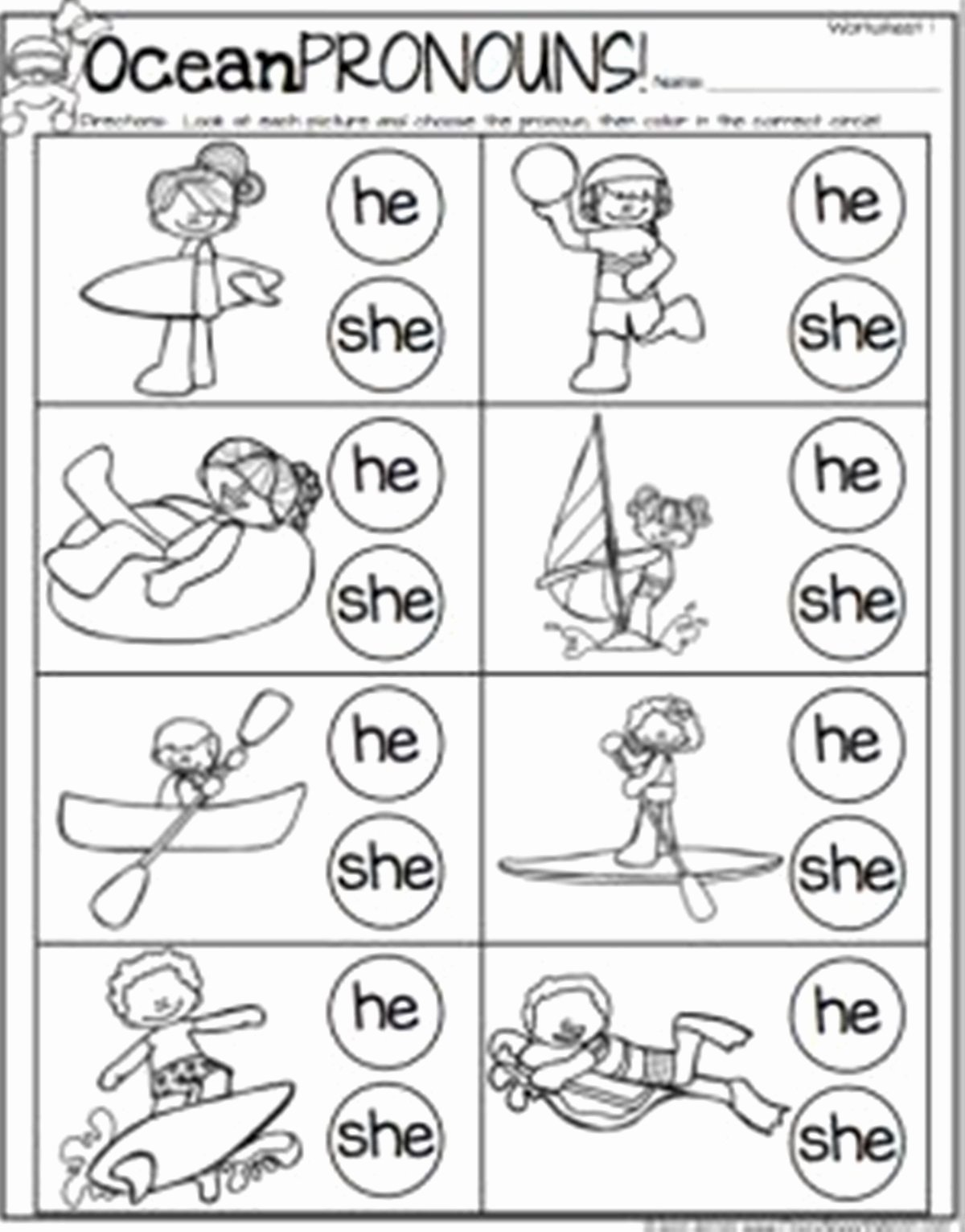 Speech Worksheets for Preschoolers Inspirational Pronoun In English