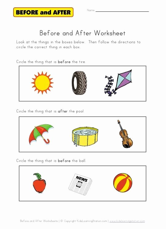 Speech Worksheets for Preschoolers Kids before and after Worksheet Free Worksheets