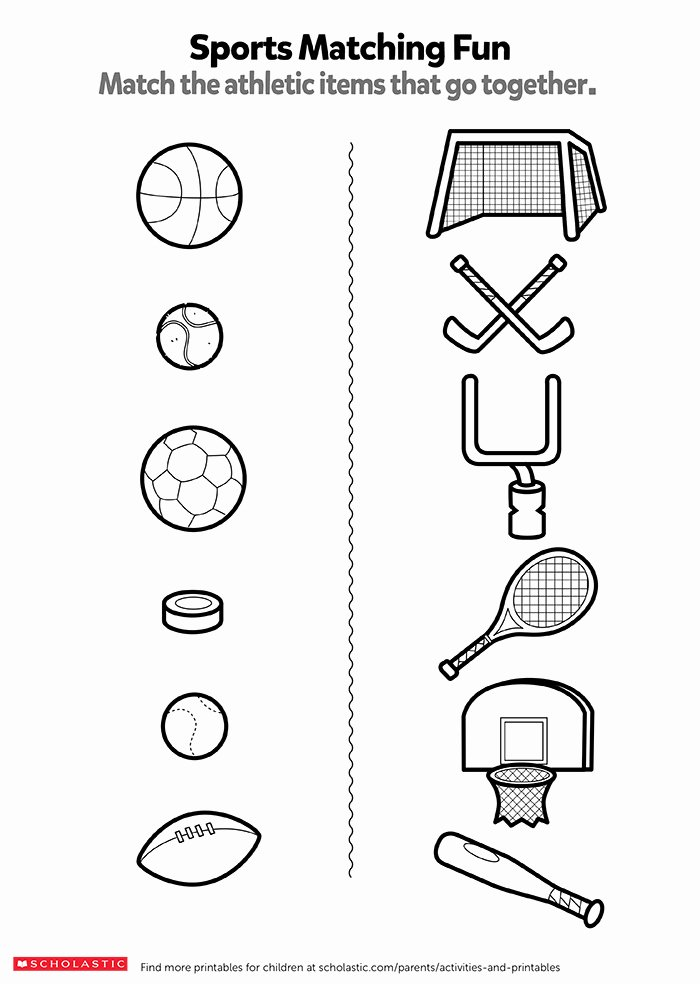 Sports Worksheets for Preschoolers Best Of Match the Sports Items