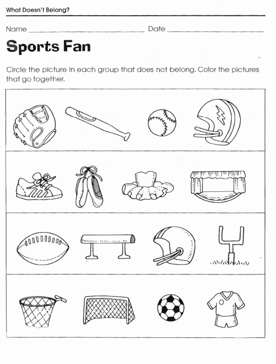 Sports Worksheets for Preschoolers Fresh Sports Worksheets for Kids Activity