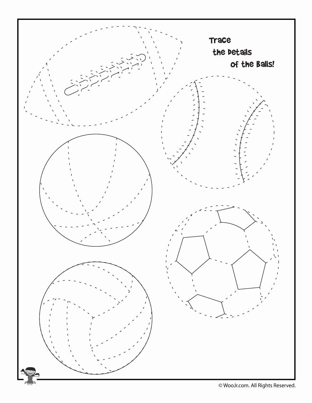 Sports Worksheets for Preschoolers Inspirational Summer Sports Tracing Worksheet